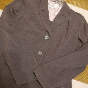 Danny & Nicole pink pinstripe suit on grey size14
